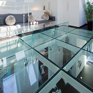 "1"" thick SGP tempered laminated glass,anti slippery/transparent/translucent glass floor"