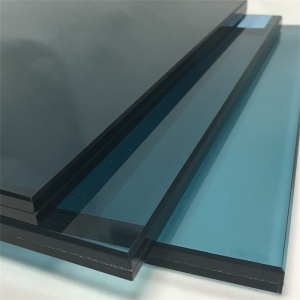 China supplier 6mm green+0.76mm clear PVB+6mm blue colour laminated glass 12mm