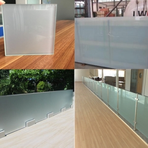China suppliers 44.2 55.2 opaque white frosted tempered laminated glass for balustrade