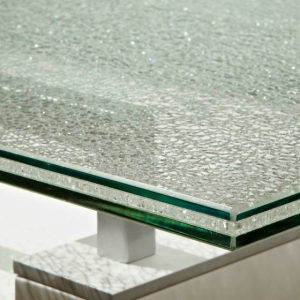 Good price 5+5+5mm ice cracked laminated glass table top manufacturer China