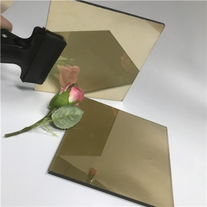 Import 4mm decorative golden color tinted reflective float glass from China supplier