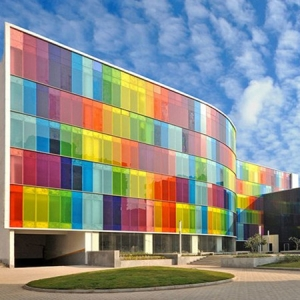 Outdoor Lightweight multi colored U-shaped glass curtain wall, colorful U profile glass façade, color U channel outside glass wall