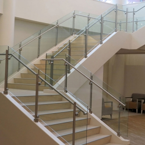 Trapezoidal safety stair railing glass manufacturer, spiral stair railing curved glass supplier