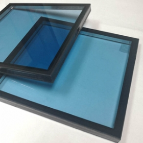 China Excellent solar control 6mm blue tempered glass+16A+8.38mm laminated glass blue tempered insulated glass heat reduce for energy saving projects factory