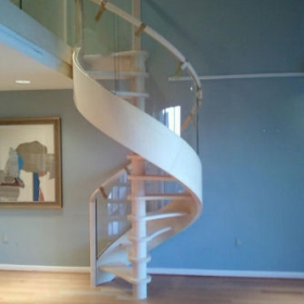 China Extremely small radius R680 6+6mm curved tempered laminated glass spiral staircase railing factory