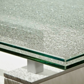 China Good price 5+5+5mm ice cracked laminated glass table top manufacturer China factory