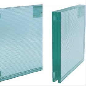 China SGP tempered laminated toughened safety glass floor with Silk screen printing ink anti non slip dot line pattern on the surface factory