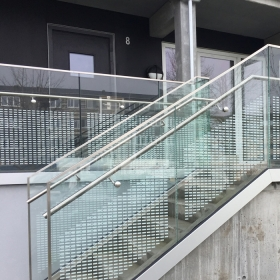 China Silk screen printing ink ceramic frit tempered laminated toughened safety glass railing balustrade balcony handrail parapet baluster banisters fences factory