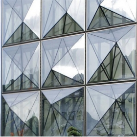 China Special design triangle shape structural soundproof shatter resistant glass facades factory