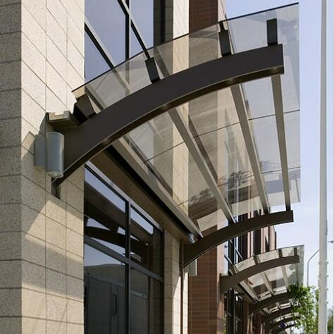 12mm Curved Toughened Glass Canopy 12mm Glass Entrance